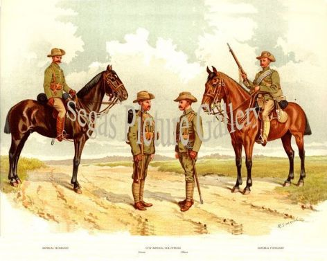 Fine art print of the British Military of The 17th Yeomanry Brigade by Richard Simkin